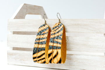 Leather Earrings / Sliced Leather / Tiger Stripe