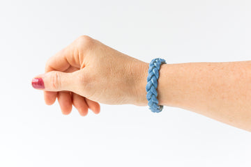 Braided Leather Bracelet / Cornflower Blue / Regular