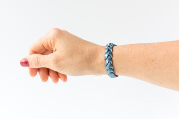 Braided Leather Bracelet / Dark Periwinkle / Small