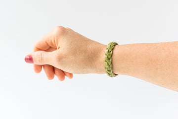 Braided Leather Bracelet / Grass Green / Kids