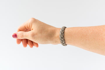 Braided Leather Bracelet / Matte Gray / Regular