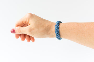 Braided Leather Bracelet / Powder Steel Blue / Regular