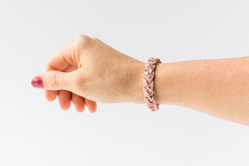 Braided Leather Bracelet / Rose Sparkle / Regular