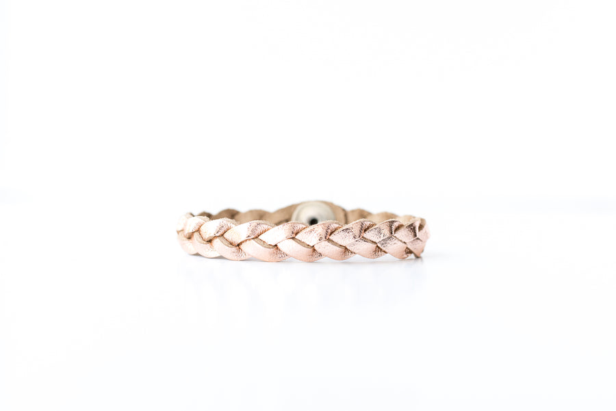 Braided Leather Bracelet / Rosegold Metallic / Kids