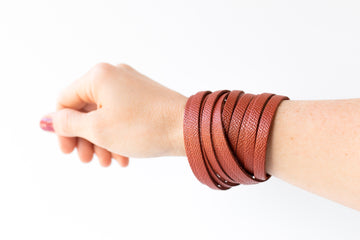 Leather Bracelet / Original Sliced Wrap Cuff / Spiced Cider / Large