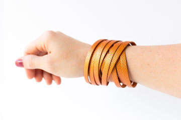 Leather Bracelet / Original Sliced Wrap Cuff / Autumn Blaze / Regular