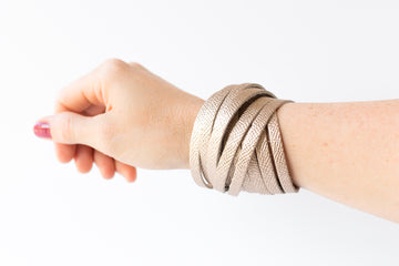 Leather Bracelet / Original Sliced Wrap Cuff / White Gold / Large