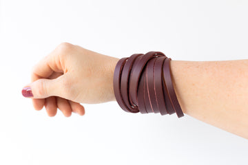 Leather Bracelet / Original Sliced Wrap Cuff / Smooth Sangria / Extra Large