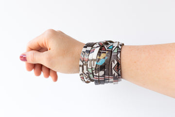 Leather Bracelet / Original Sliced Wrap Cuff / Autumn Aztec / Regular