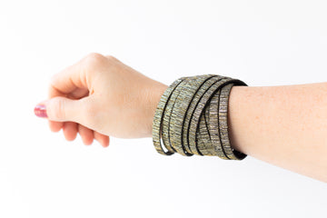 Leather Bracelet / Original Sliced Wrap Cuff / Woven Sparkle / Large