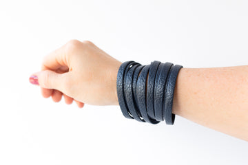Leather Bracelet / Original Sliced Wrap Cuff / Navy Blazer / Large
