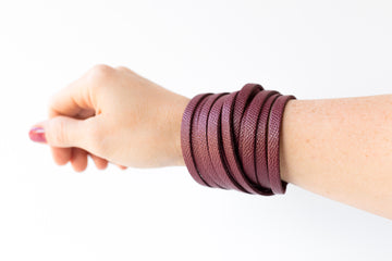 Leather Bracelet / Original Sliced Wrap Cuff / Cabernet / Regular