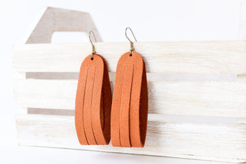 Leather Earrings / Sliced Leather / Pumpkin Latte