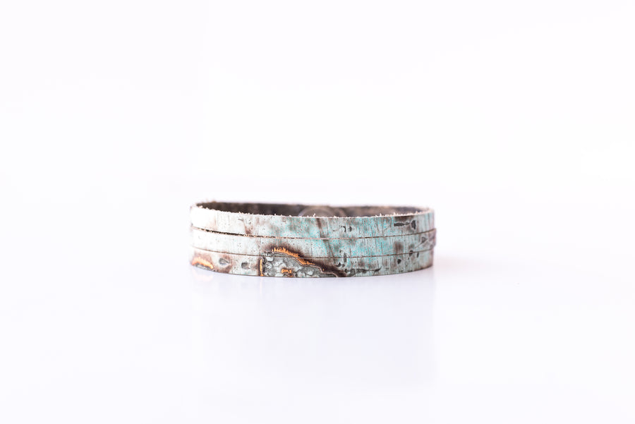 Leather Bracelet / Ultra Skinny Sliced Cuff / Driftwood Turquoise / Extra Large