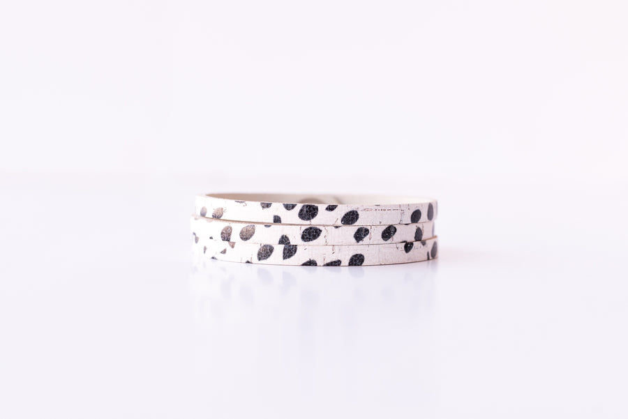 Leather Bracelet/ Ultra Skinny Sliced Cuff / Dottie Cork / Regular