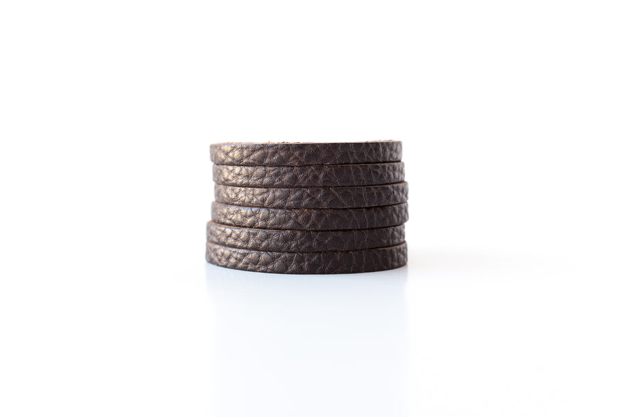 Leather Bracelet / Original Sliced Cuff / Chocolate Brown / Large