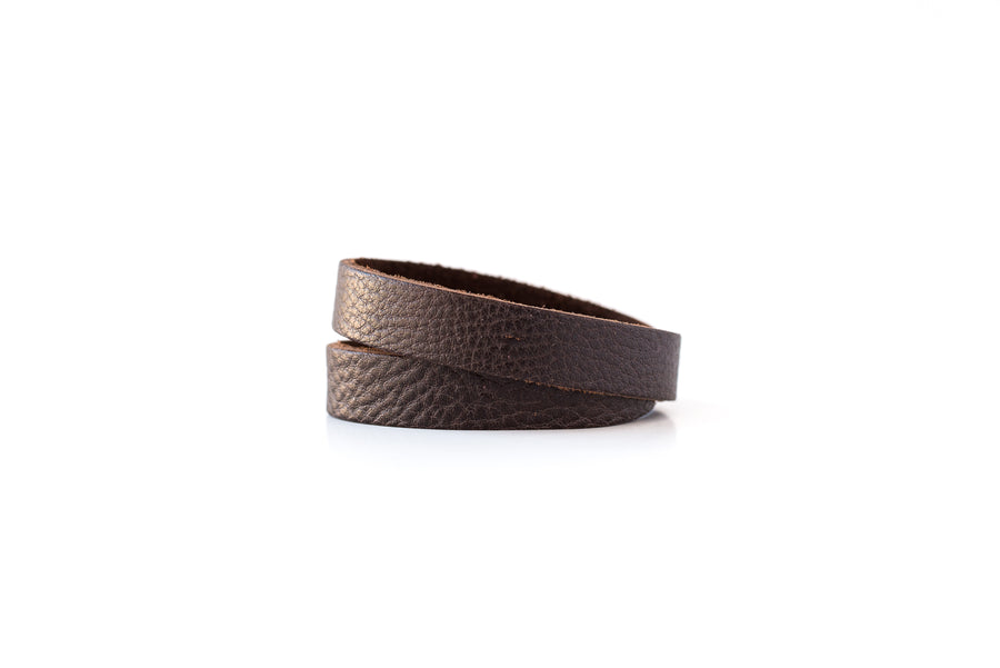 Leather Bracelet / Slim Wrap Cuff / Chocolate Brown / Small