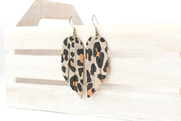 Leather Earrings / Mini Fringe / Sparkle Leopard
