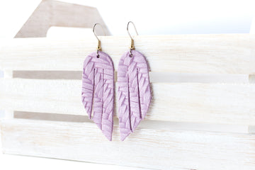 Leather Earrings / Mini Fringe / Orchid Woven