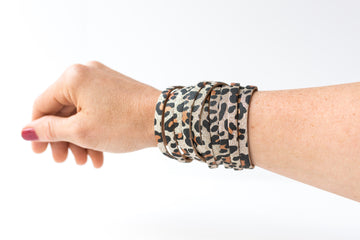 Leather Bracelet / Original Sliced Wrap Cuff / Sparkle Leopard / Small