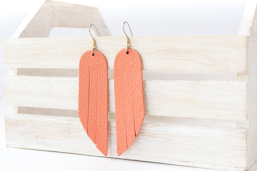 Leather Earrings / Fringe / Summer Peach