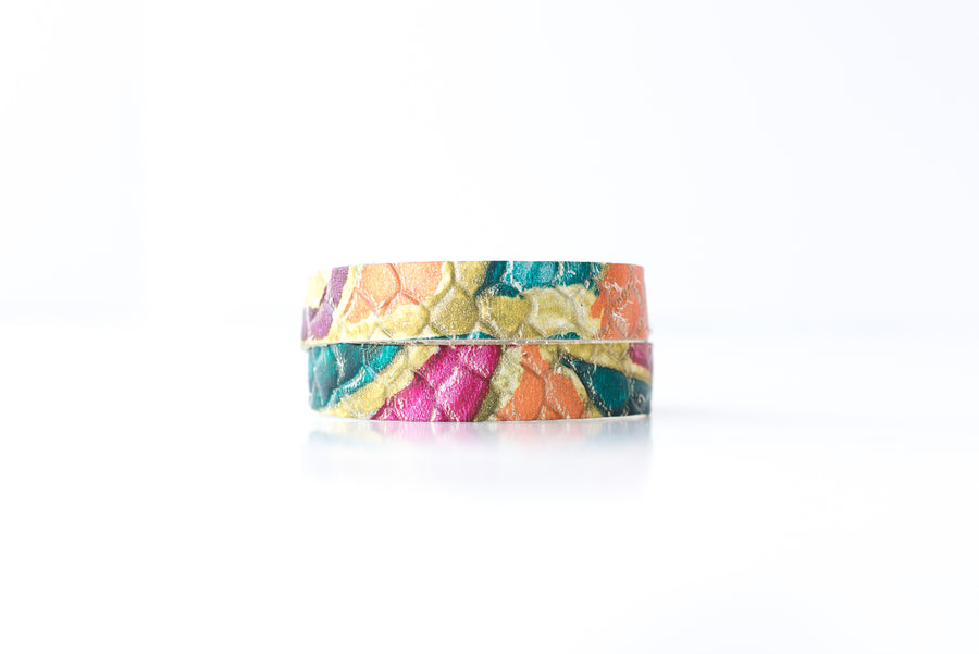 Leather Bracelet / Slim Wrap Cuff / Tropical Summer / Extra Large