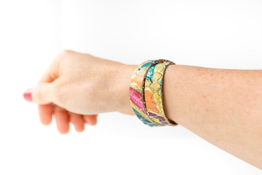 Leather Bracelet / Slim Wrap Cuff / Tropical Summer / Regular