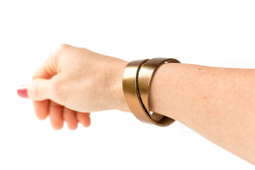 Leather Bracelet / Slim Wrap Cuff / Metallic Bronze / Large