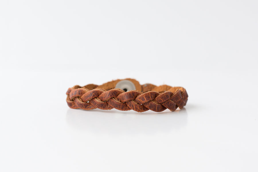 Braided Leather Bracelet / Copper Cowboy / Kids
