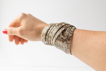 Leather Bracelet / Original Sliced Wrap Cuff / Driftwood Ivory / Extra Large