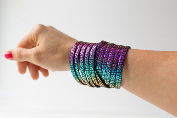 Leather Bracelet / Original Sliced Wrap Cuff / Rainbow Sparkle / Small