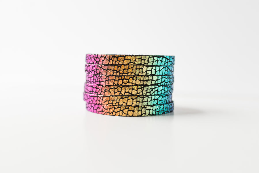 Leather Bracelet / Original Sliced Cuff / Rainbow Sparkle / Extra Large