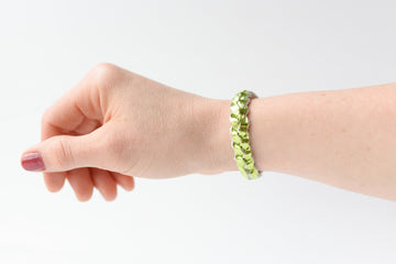 Braided Leather Bracelet / Metallic Lime / Small