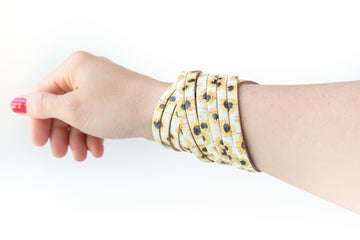 Leather Bracelet / Original Sliced Wrap Cuff / Sunny Flowers Cork / Small