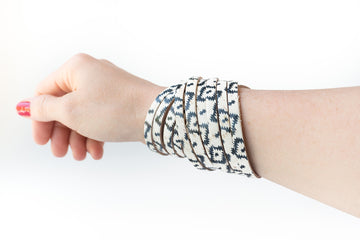 Leather Bracelet / Original Sliced Wrap Cuff / Aztec Geo Cork / Regular