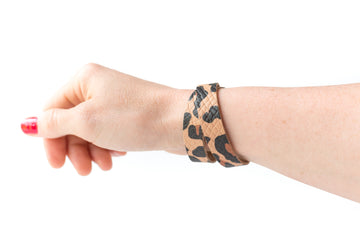 Leather Bracelet / Slim Wrap Cuff / Big Cat / Large