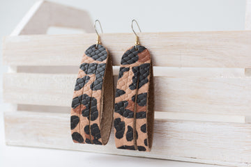 Leather Earrings / Sliced Leather / Big Cat