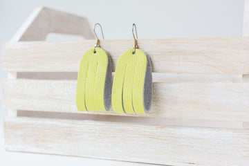 Leather Earrings / Mini Sliced / Lemon Lime
