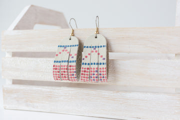 Leather Earrings / Mini Sliced / Confetti