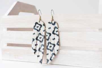 Leather Earrings / Fringe / Aztec Geo Cork