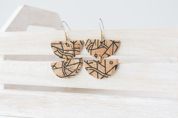 Leather Earrings / Demi Luna / Geo Cork