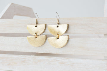 Leather Earrings / Demi Luna / Metallic Gold