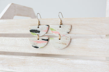 Leather Earrings / Demi Luna / Paint Splash Cork