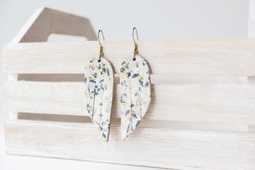 Leather Earrings / Mini Fringe / Lemon Verbena Cork