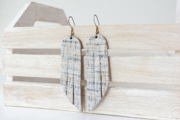 Leather Earrings / Fringe / Denim Cork