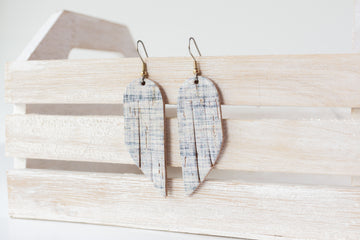 Leather Earrings / Mini Fringe / Denim Cork