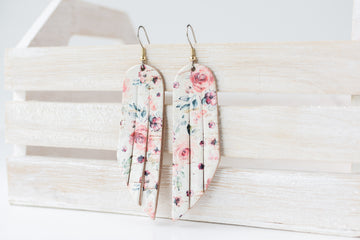 Leather Earrings / Fringe / Rosey Cork