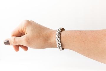 Braided Leather Bracelet / Silver Metallic / Small