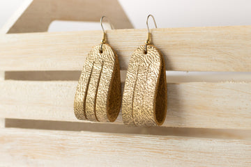 Leather Earrings / Mini Sliced / Antique Gold