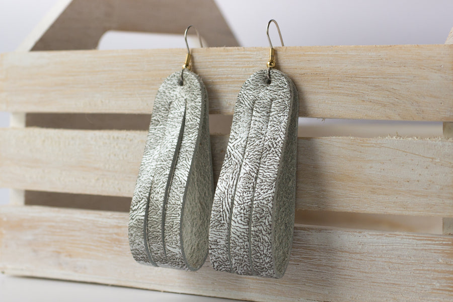 Leather Earrings / Sliced Leather / Antique Pewter